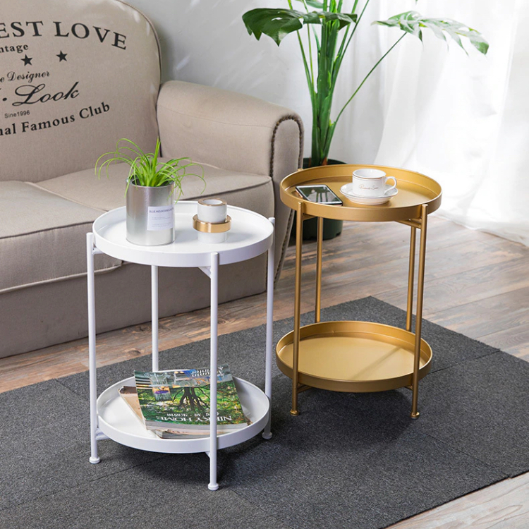 Minix Side Coffee Table 2 Tier Small, Small Round End Table